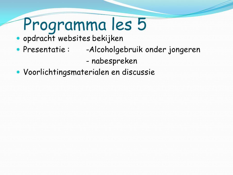 Programma les 5 opdracht websites bekijken