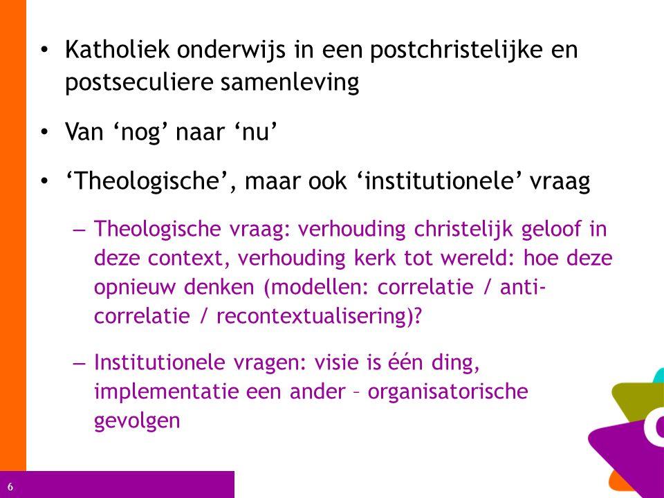 'Theologische', maar ook 'institutionele' vraag