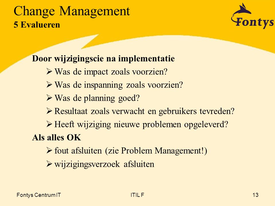 Change Management 5 Evalueren