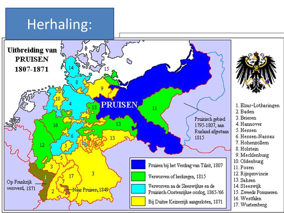 Herhaling: Leg uit hoe Von Bismarck heeft gezorgd voor de vorming van de Duitse natiestaat.