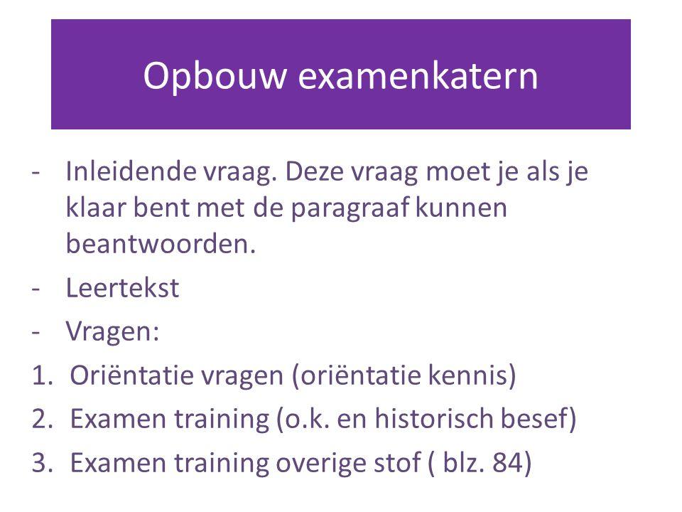 Opbouw examenkatern Inleidende vraag. Deze vraag moet je als je klaar bent met de paragraaf kunnen beantwoorden.