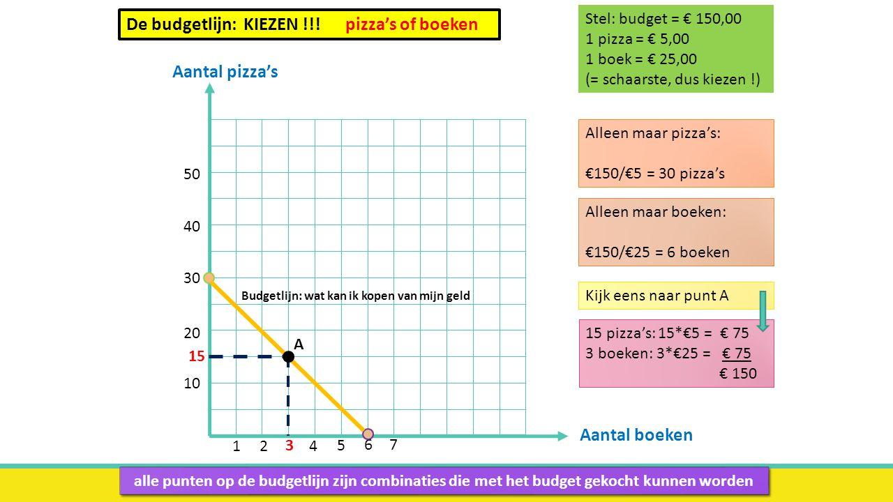 De budgetlijn: KIEZEN !!! pizza's of boeken