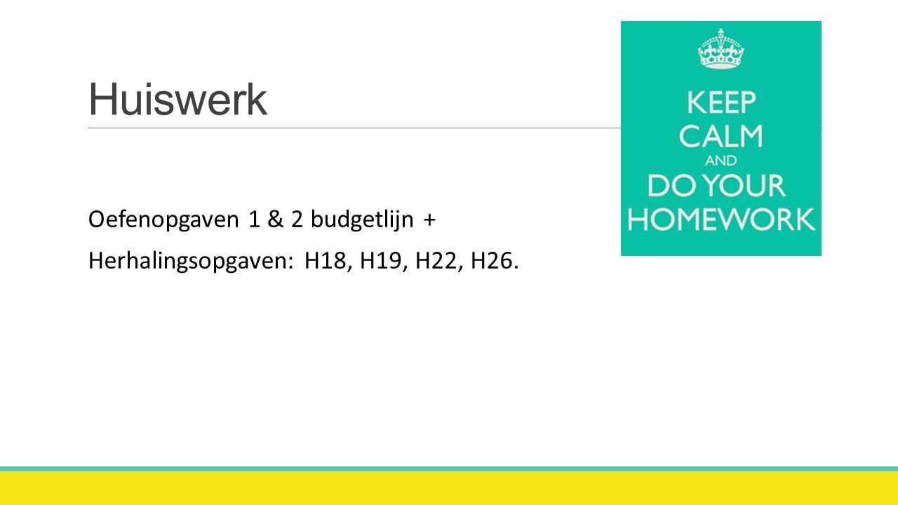 Huiswerk Oefenopgaven 1 & 2 budgetlijn +