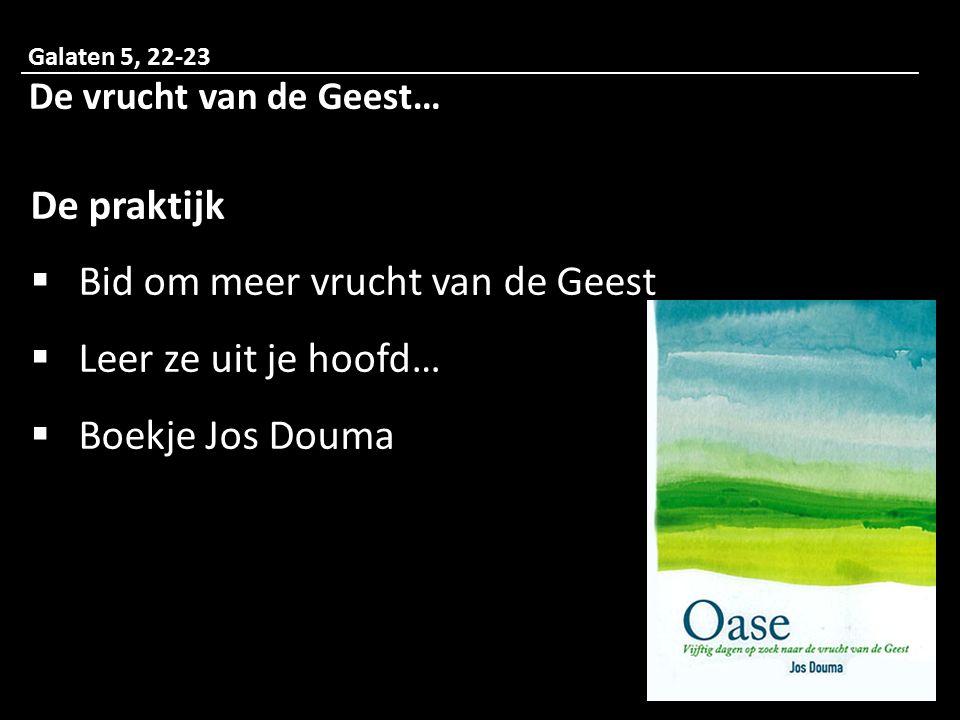 Bid om meer vrucht van de Geest Leer ze uit je hoofd… Boekje Jos Douma
