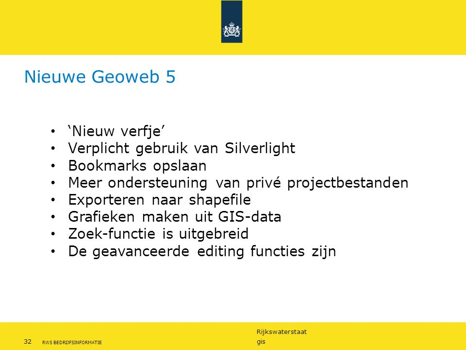 Nieuwe Geoweb 5 'Nieuw verfje' Verplicht gebruik van Silverlight