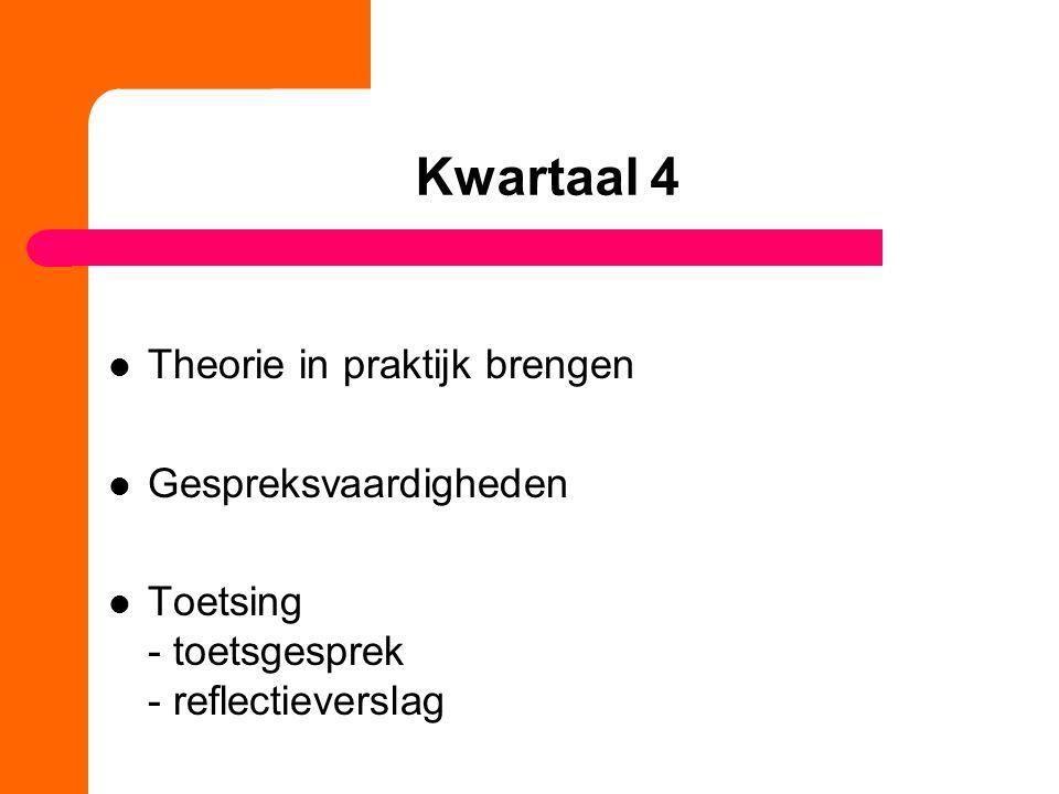 Kwartaal 4 Theorie in praktijk brengen Gespreksvaardigheden