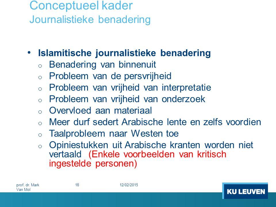 Conceptueel kader Journalistieke benadering
