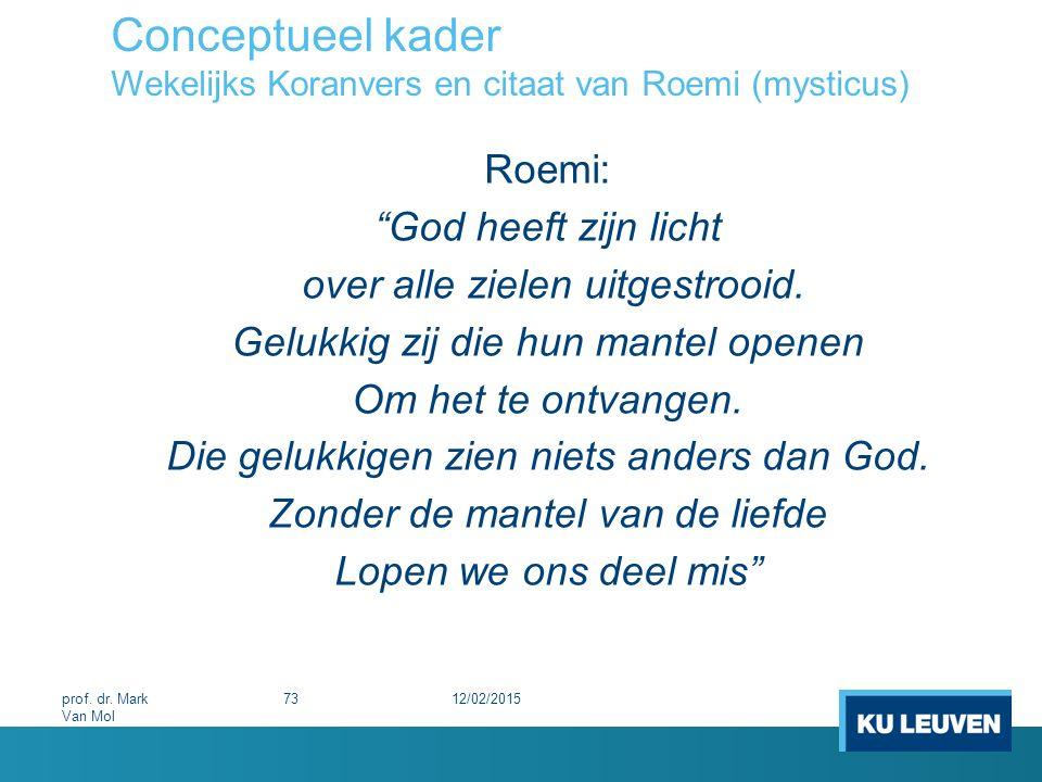Conceptueel kader Wekelijks Koranvers en citaat van Roemi (mysticus)