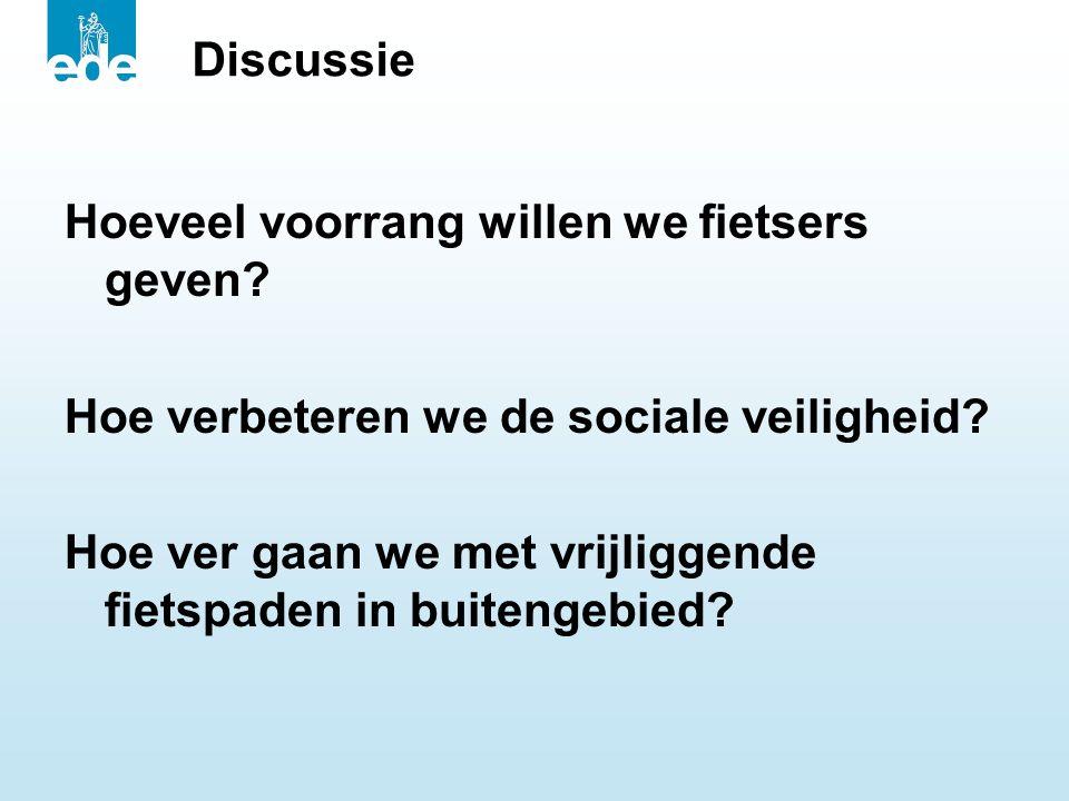 Discussie Hoeveel voorrang willen we fietsers geven Hoe verbeteren we de sociale veiligheid