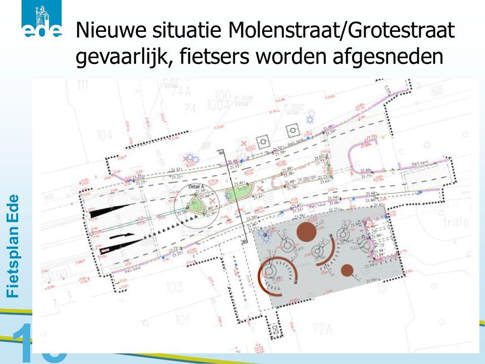 Nieuwe situatie Molenstraat/Grotestraat gevaarlijk, fietsers worden afgesneden