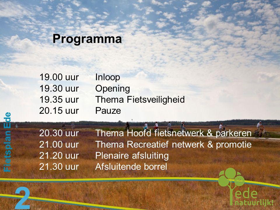 Programma 19.00 uur Inloop 19.30 uur Opening
