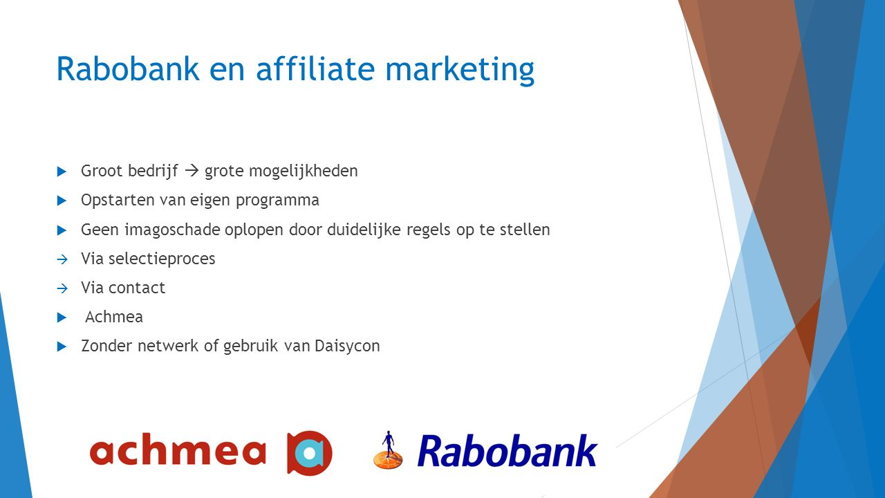 Rabobank en affiliate marketing