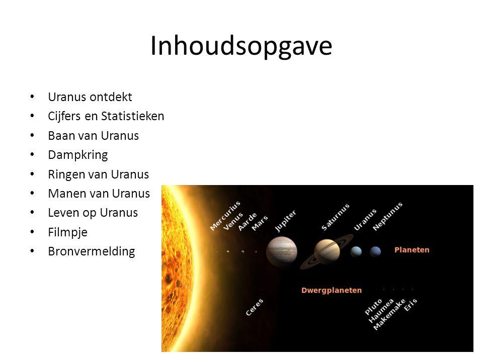 Inhoudsopgave Uranus ontdekt Cijfers en Statistieken Baan van Uranus