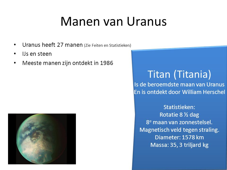 Manen van Uranus Titan (Titania)