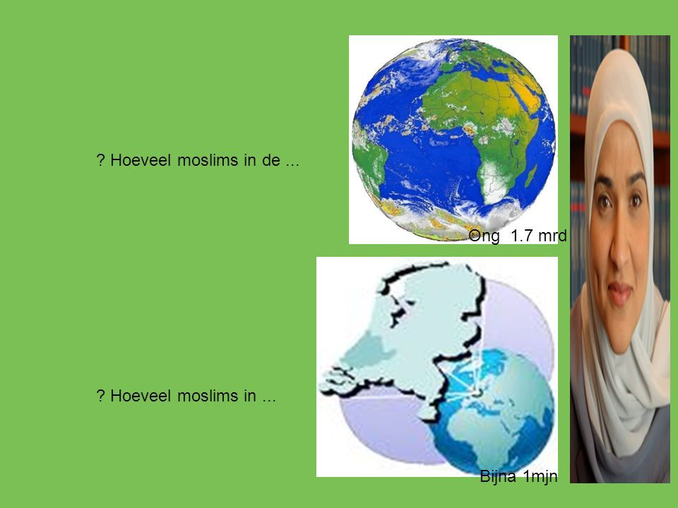 Hoeveel moslims in de ... Ong 1.7 mrd Hoeveel moslims in ... Bijna 1mjn