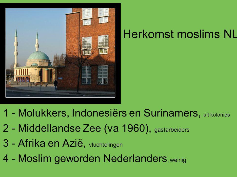 Herkomst moslims NL 1 - Molukkers, Indonesiërs en Surinamers, uit kolonies. 2 - Middellandse Zee (va 1960), gastarbeiders.