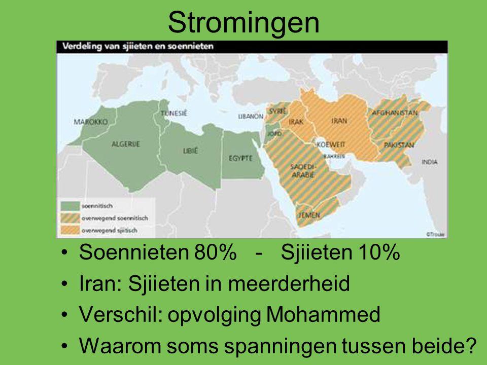 Stromingen Soennieten 80% - Sjiieten 10% Iran: Sjiieten in meerderheid