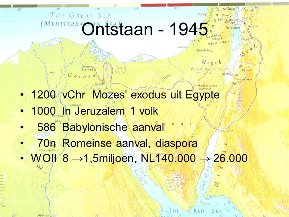 Ontstaan - 1945 1200 vChr Mozes' exodus uit Egypte
