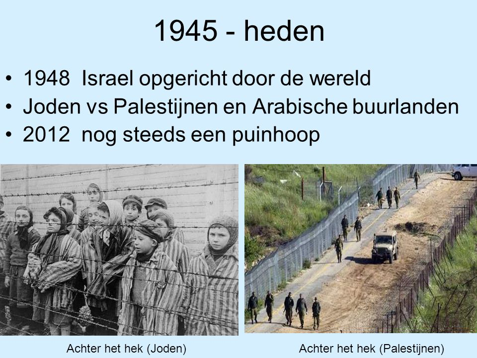 1945 - heden 1948 Israel opgericht door de wereld