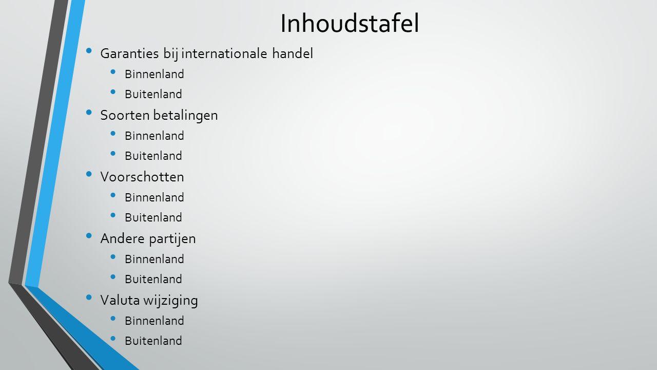 Inhoudstafel Garanties bij internationale handel Soorten betalingen