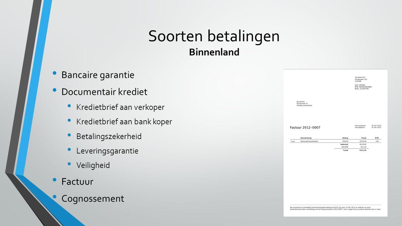 Soorten betalingen Binnenland
