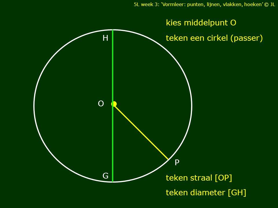 • O kies middelpunt O teken een cirkel (passer) H G