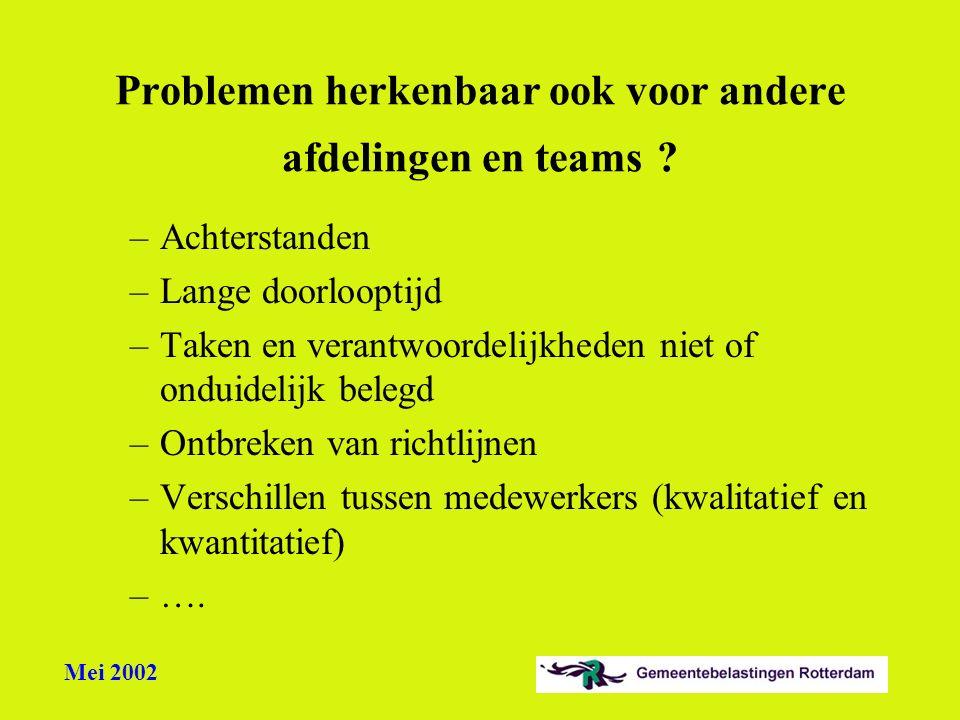 Problemen herkenbaar ook voor andere afdelingen en teams