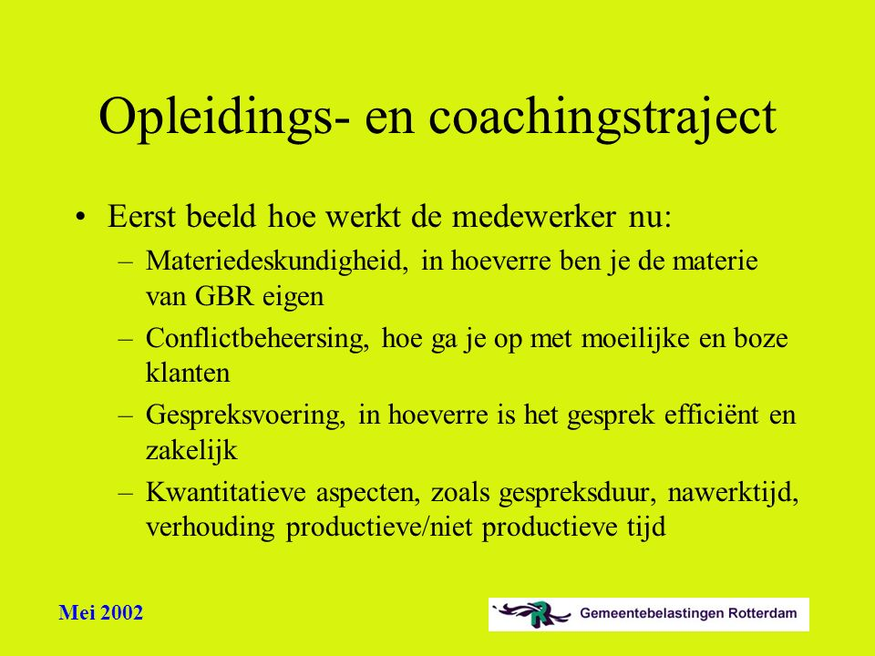 Opleidings- en coachingstraject