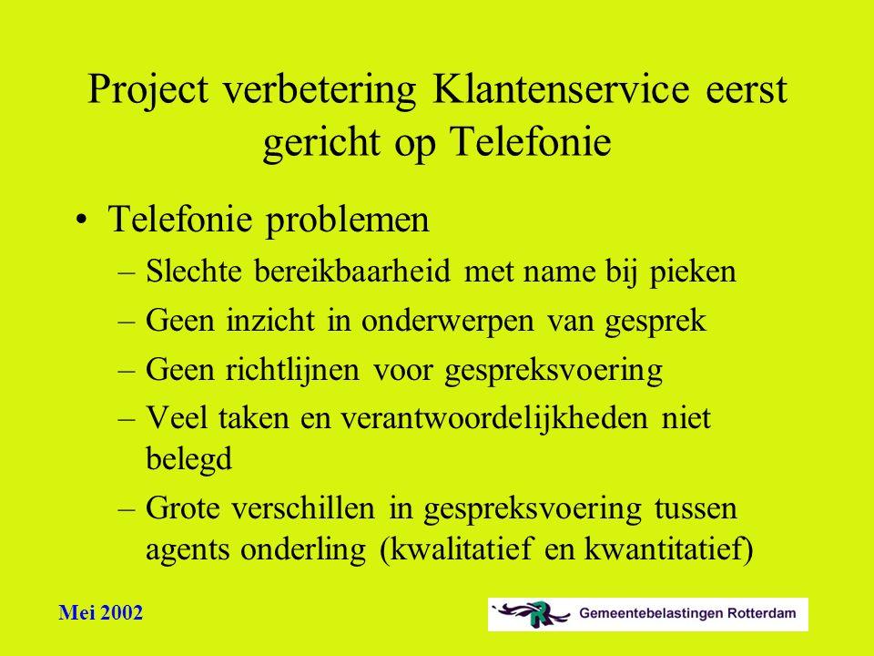Project verbetering Klantenservice eerst gericht op Telefonie