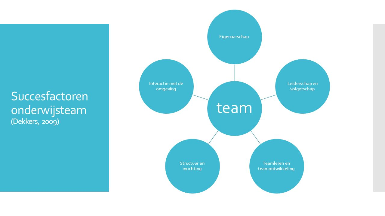 Succesfactoren onderwijsteam (Dekkers, 2009)
