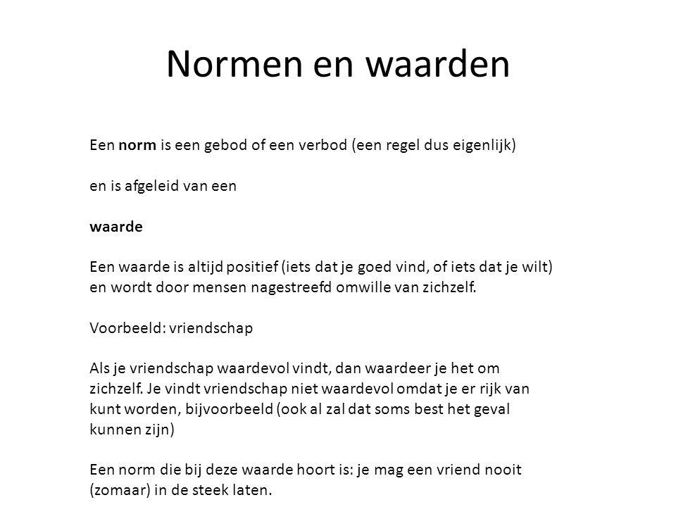 Normen en waarden Een norm is een gebod of een verbod (een regel dus eigenlijk) en is afgeleid van een.