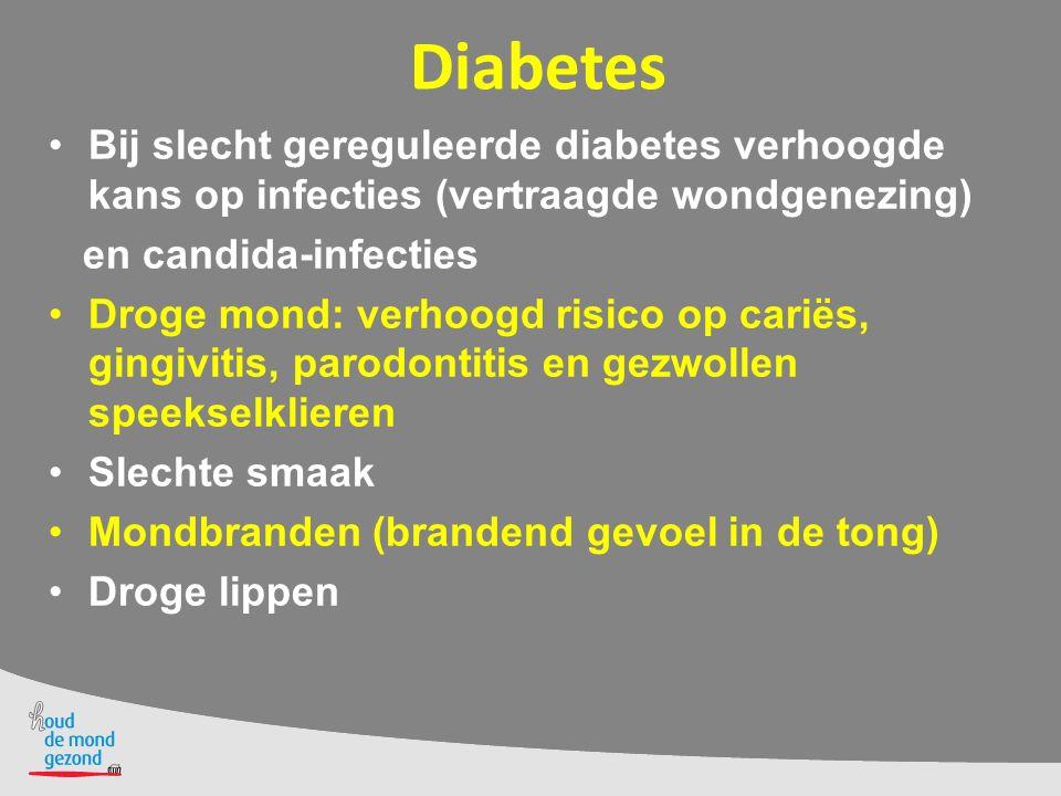 Diabetes Bij slecht gereguleerde diabetes verhoogde kans op infecties (vertraagde wondgenezing) en candida-infecties.