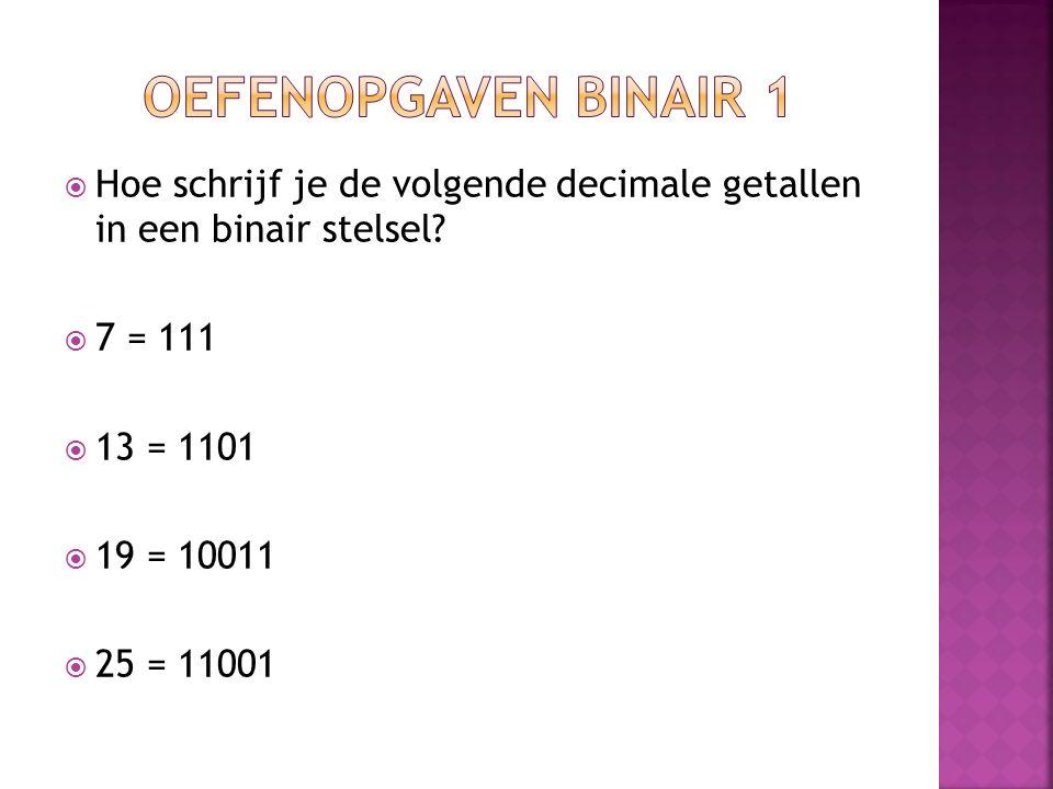 Oefenopgaven binair 1 Hoe schrijf je de volgende decimale getallen in een binair stelsel 7 = 111.