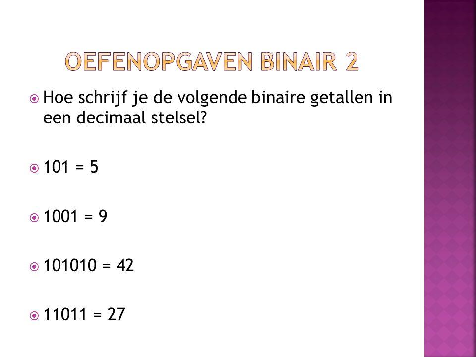 Oefenopgaven binair 2 Hoe schrijf je de volgende binaire getallen in een decimaal stelsel 101 = 5.