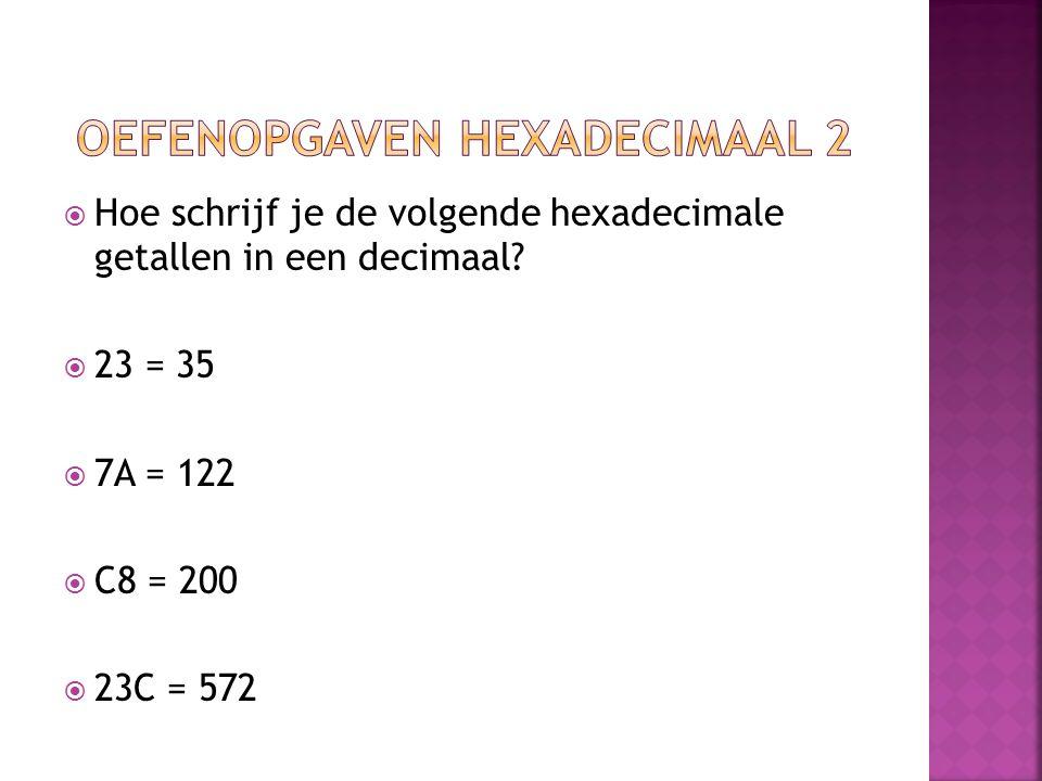 Oefenopgaven hexadecimaal 2