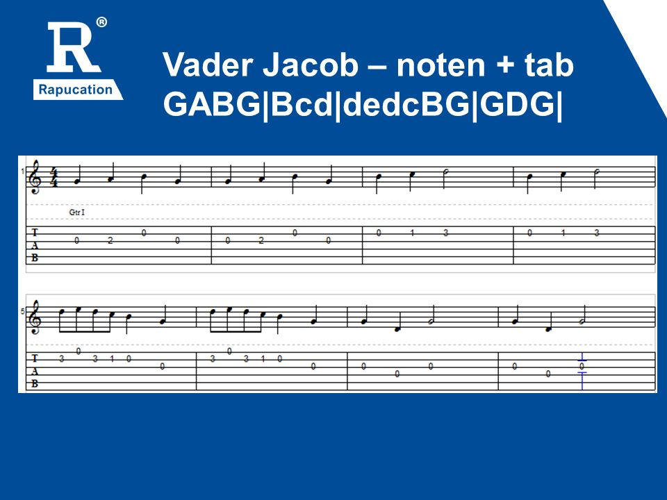 Vader Jacob – noten + tab GABG|Bcd|dedcBG|GDG|
