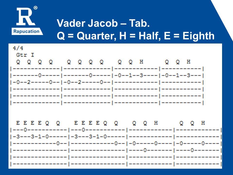Vader Jacob – Tab. Q = Quarter, H = Half, E = Eighth