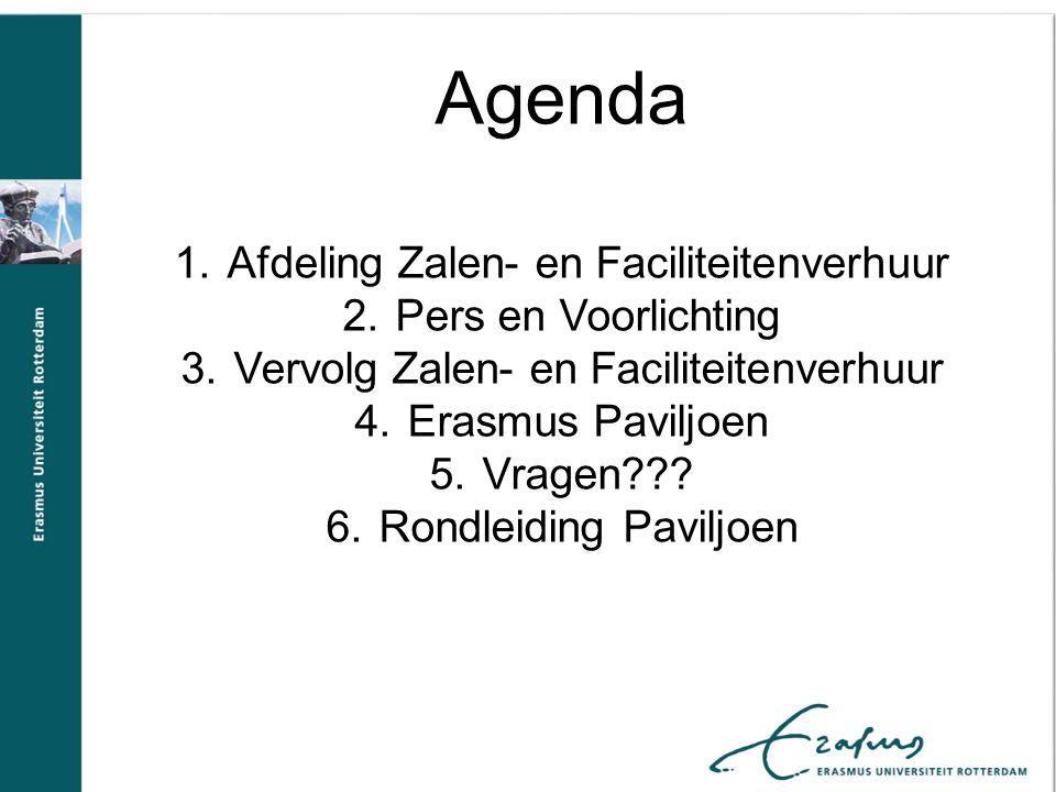 Agenda Afdeling Zalen- en Faciliteitenverhuur Pers en Voorlichting
