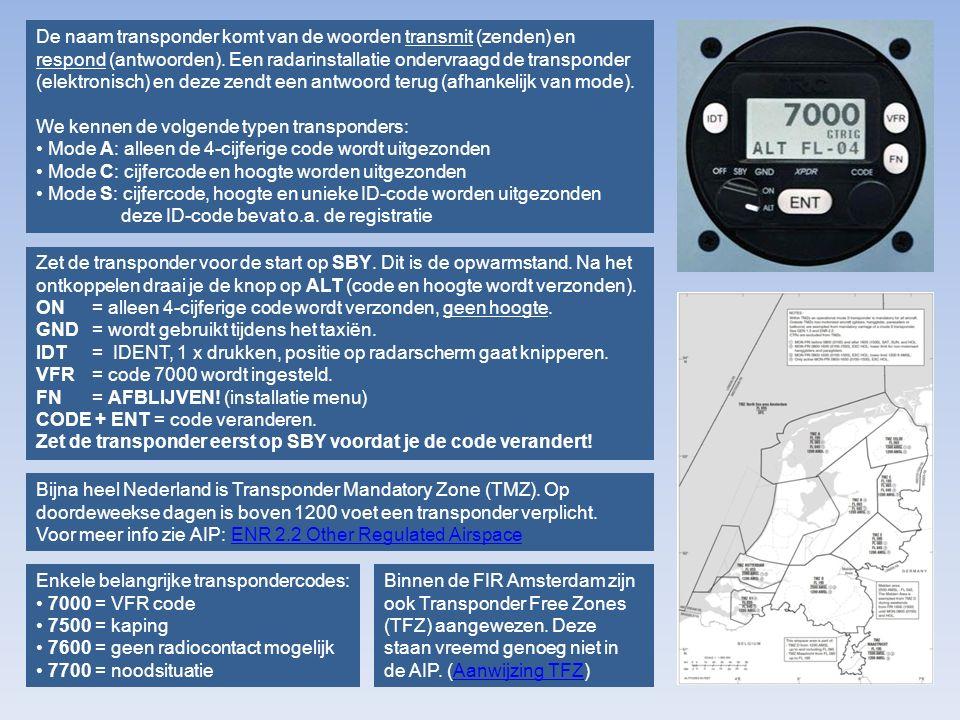 De naam transponder komt van de woorden transmit (zenden) en respond (antwoorden). Een radarinstallatie ondervraagd de transponder (elektronisch) en deze zendt een antwoord terug (afhankelijk van mode).