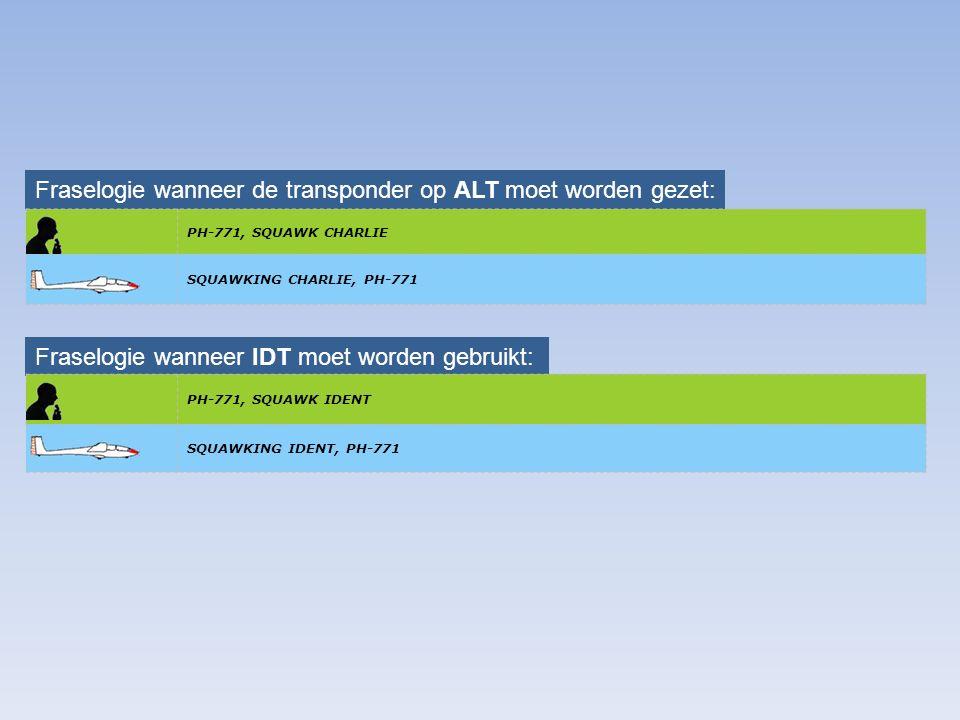 Fraselogie wanneer de transponder op ALT moet worden gezet: