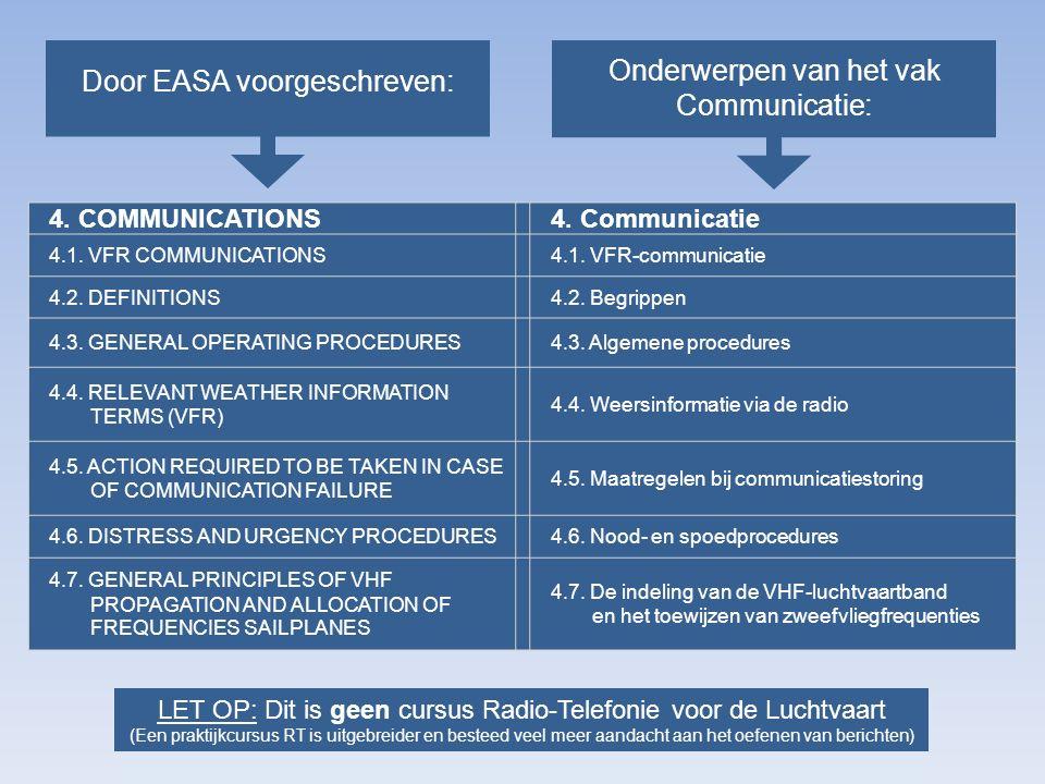 Onderwerpen van het vak Communicatie: Door EASA voorgeschreven: