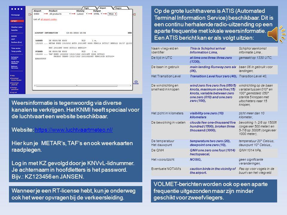 Een ATIS bericht kan er als volgt uitzien: