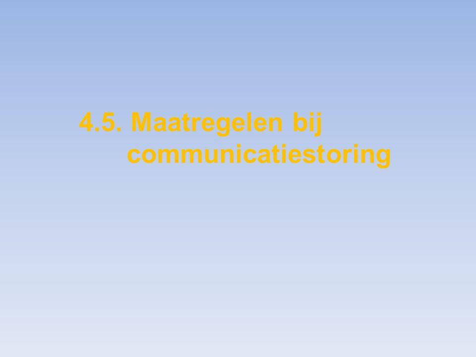 4.5. Maatregelen bij communicatiestoring