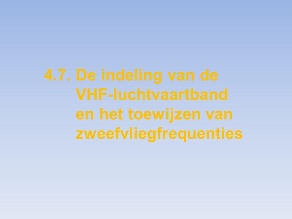 4. 7. De indeling van de. VHF-luchtvaartband. en het toewijzen van