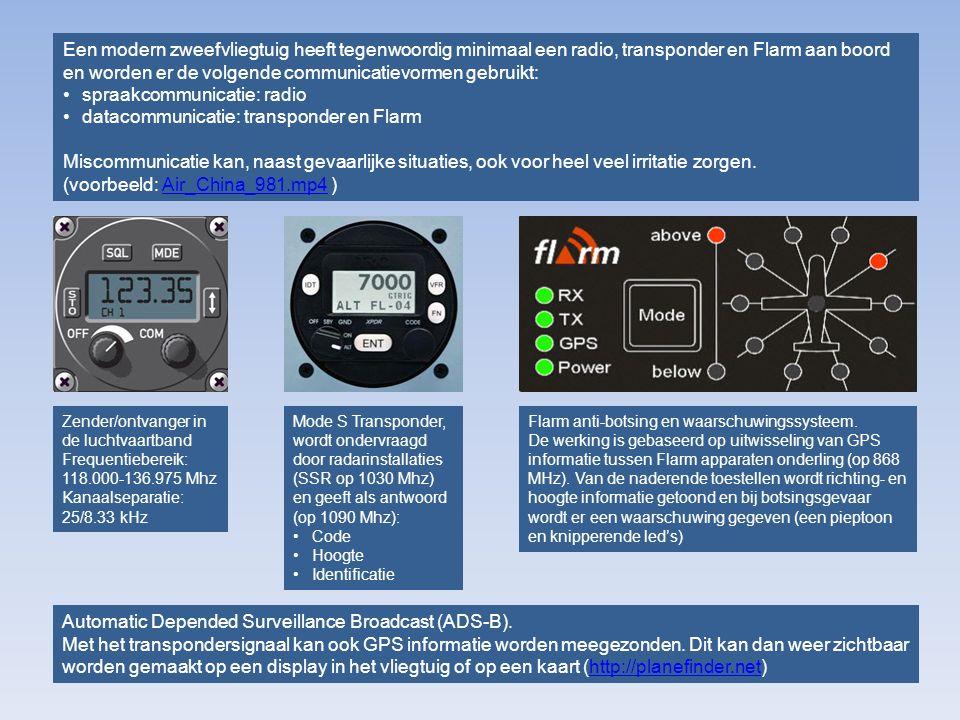 spraakcommunicatie: radio datacommunicatie: transponder en Flarm