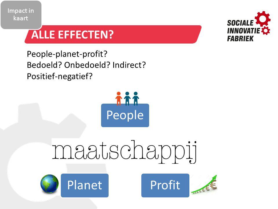 Alle effecten People-planet-profit Bedoeld Onbedoeld Indirect