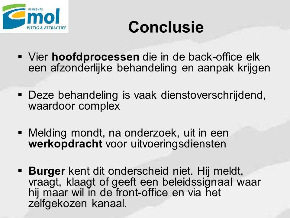 Conclusie Vier hoofdprocessen die in de back-office elk een afzonderlijke behandeling en aanpak krijgen.