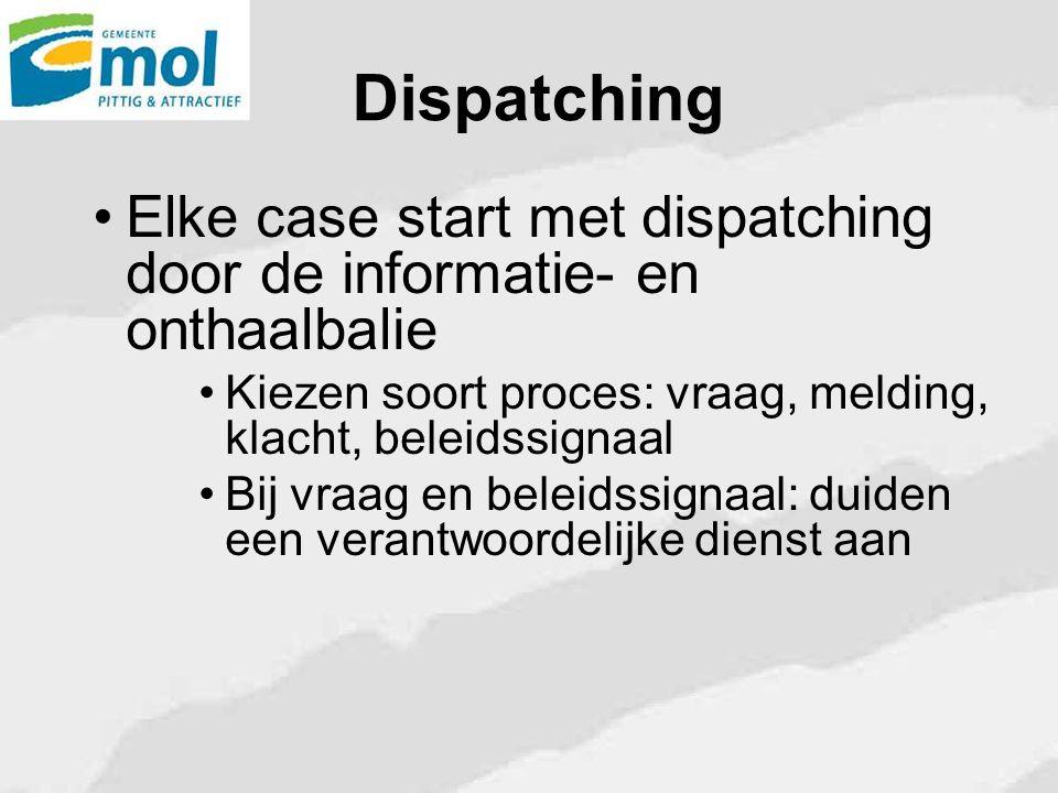 Dispatching Elke case start met dispatching door de informatie- en onthaalbalie. Kiezen soort proces: vraag, melding, klacht, beleidssignaal.