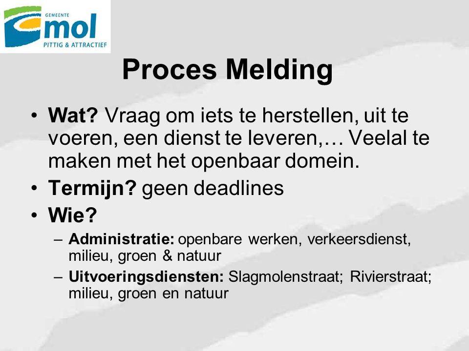 Proces Melding Wat Vraag om iets te herstellen, uit te voeren, een dienst te leveren,… Veelal te maken met het openbaar domein.