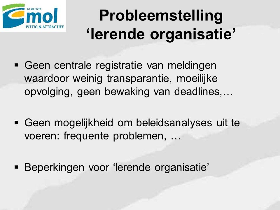 Probleemstelling 'lerende organisatie'